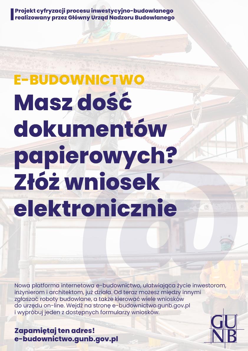 Plakat - Portal E-Budownictwo