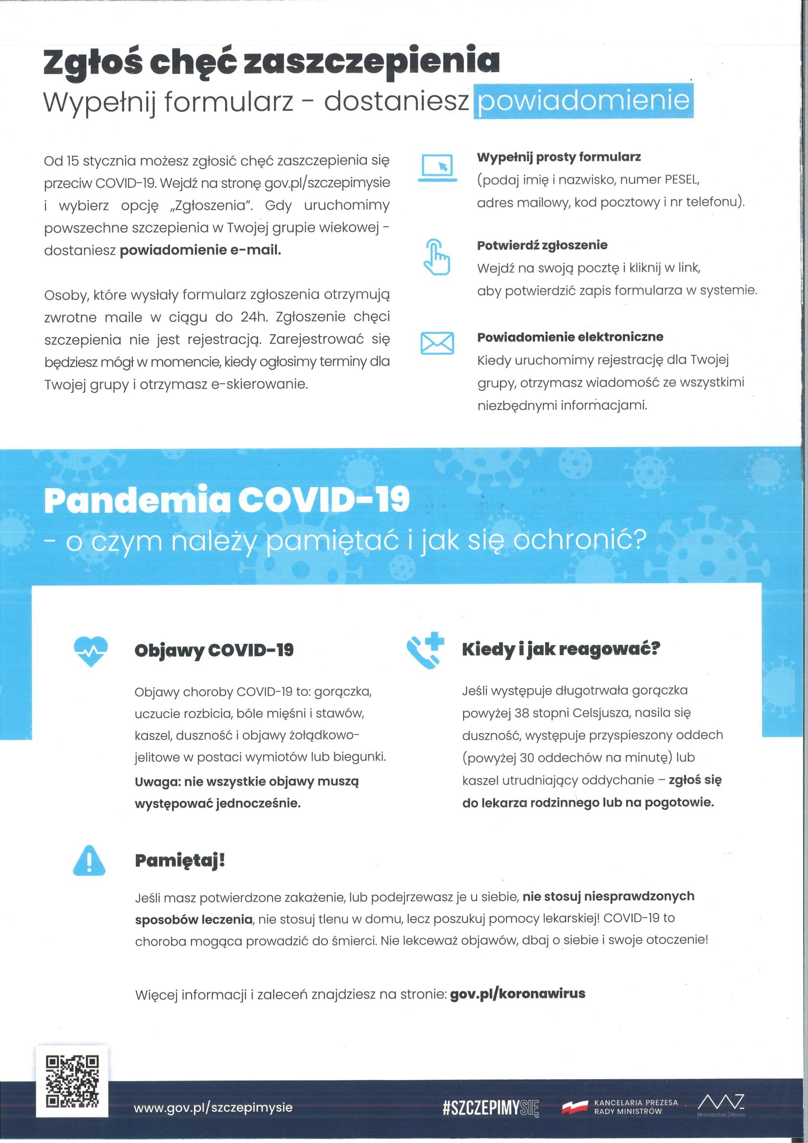 Rejestracja na szczepienie przeciwko COVID-19 - ulotka