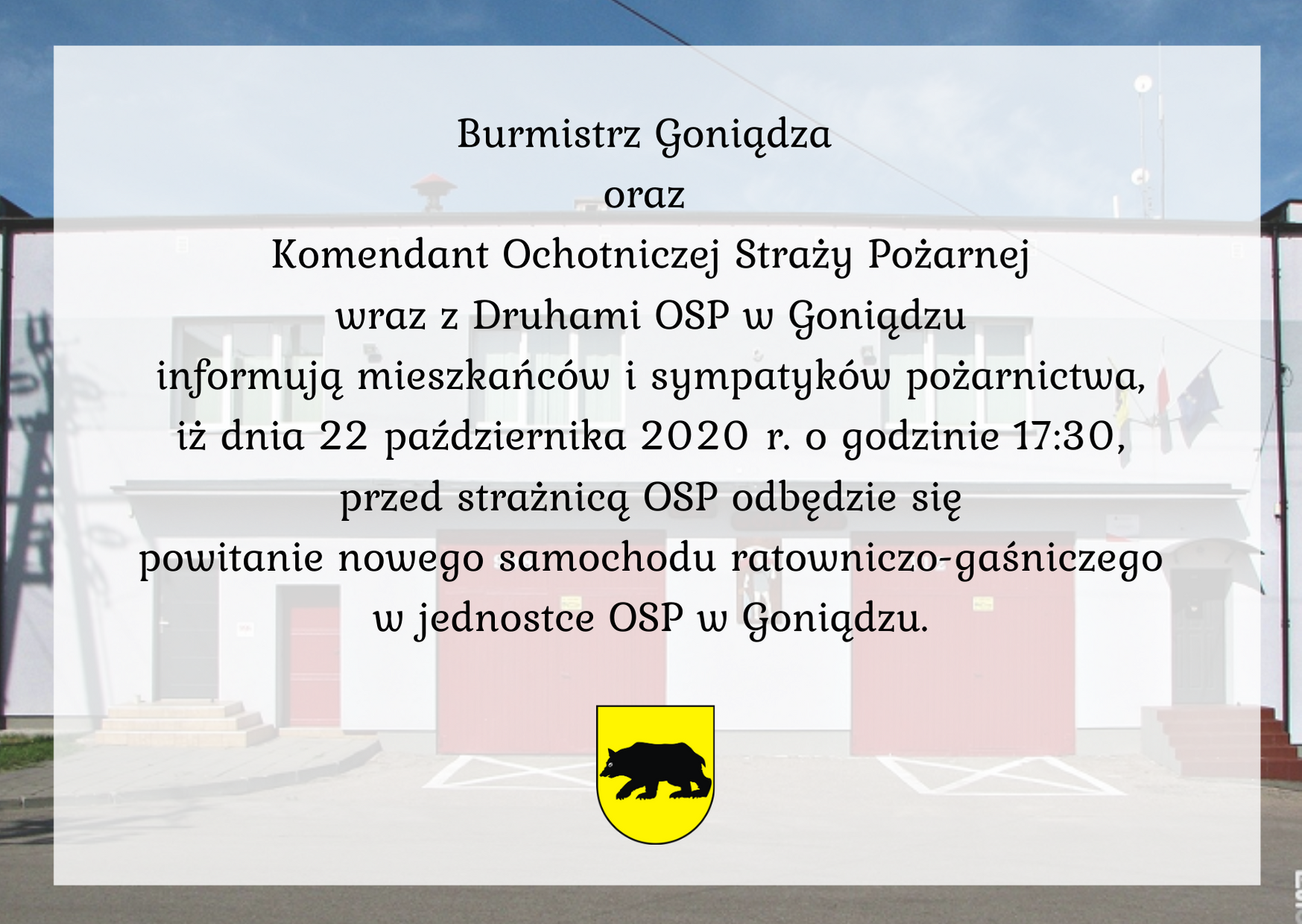 Powitanie nowego wozu strażackiego w OSP w Goniądzu